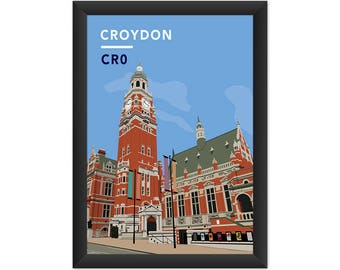 Croydon Clock Tower And Town Hall CR0 - Giclée Art Print - South London Poster