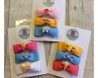 Sweet Treats hair bows - set of three clips