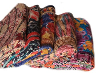 5 Pcs Set Of Twin Handmade Reversible Vintage Sari Cotton Stitched Kantha Quilt