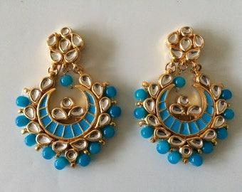 Kundan Chandbali earrings in turquoise