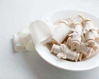 Silk ribbon, hand-dyed, Plant-dyed Ivory 100% pure silk habotai ribbon
