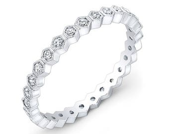 14K White Gold, Hand detailed, Diamond Stackable ring
