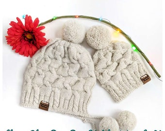 Made to Order - Hand Knitted/Cozy Winter Hat, Llama Yarn Hat, Pom-Pom Hat, with/without Earflaps, Winter Accessories/All Sizes