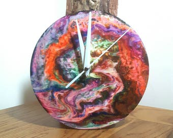 Fluid Art Clock, Upcycled Record, Wall Clock, Liquid Art, Home Decor, Psychedelic Art, Hand Painted Clock, Unique Gift, Abstract Clock,