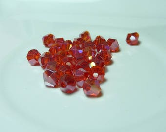 25 4mm red AB bicone Crystal beads
