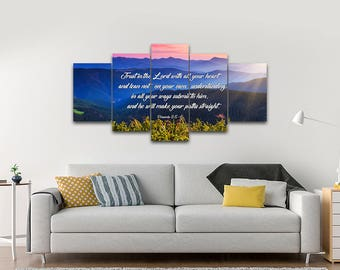 Proverbs 3:5-6 #3 NIV Trust in the Lord Bible Verse Canvas | Christian Canvas | Scripture | Religious | Wall Art | Home Decor Paintings