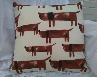 Handmade cushion cover. Cream with brown dachshunds sausage dogs. 16 inch