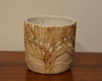 Hand Carved Tree Themed Candle Holder