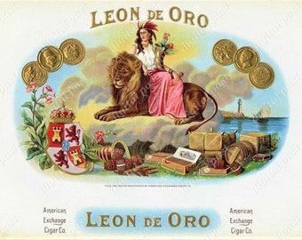 LEON de ORO antique cigar label art - Instant Download, Digital Print - vintage circa 1900, sitting lion with cigar woman