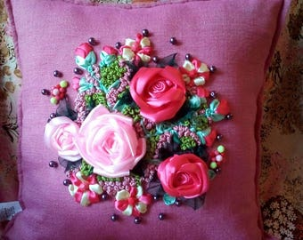 Hand embroidered pillow with silk ribbon