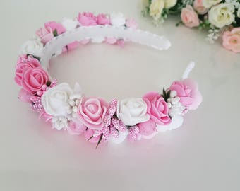 Pink Flower Headband, Flower Hairband, Hair Accessory, Girl Women Hair Jewelry, Gift For Her, Bridal Wedding Headband,flower girl,gift