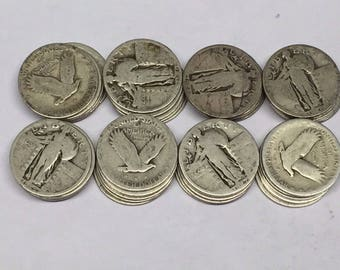 ONE ROLL(of 40) Standing Liberty Silver Quarters-Readable Dates-Clearance