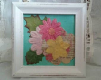 Beautiful Shades of Pink Shabby Chic Framed Floral Design F41