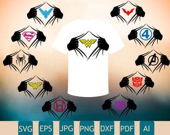 10 SuperHero Logos SVG | Super Hero DXF | SuperHero Tshirt Printable | Cricut, InkScape, Silhouette | Instant Download