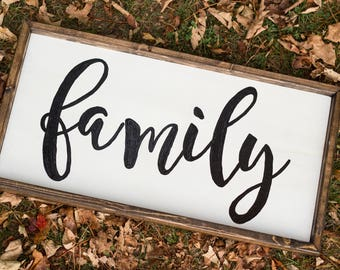 Wooden Family Sign Farmhouse Decor Housewarming Gift Rustic Family Sign Rustic Home Decor Modern Farmhouse Anniversary Gift Idea For Her