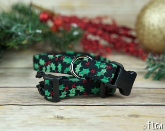 Under the Mistletoe - Designer Dog Collar - Fabric Dog Collar - Adjustable Dog Collar