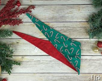 Candy Cane9 - Christmas Dog Bandana - Tie Up Bandana - Double Sided Dog Bandana