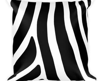Black and White Zebra Stripe Pillow, Graphic Square Cushion Cover, Animal Print Pattern, Modern Accent Pillow, Throw Pillow, Size 18x18 inch