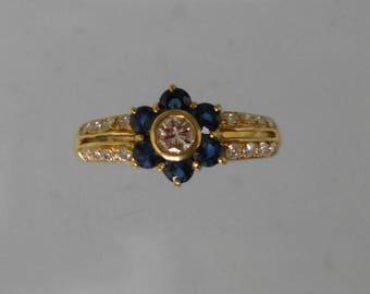 Gold Sapphire diamond ring