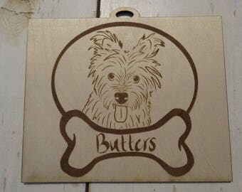 Wood Engraved Dog Portrait, Custom Pieces