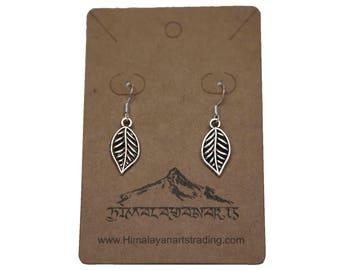 Leaf Earrings/ Sterling Silver Dangle Drop Earrings/Openwork Leaf Earrings