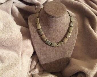 Jasper Rectangular Stone & Dalmation Round Stone Necklace