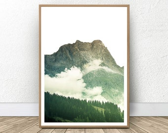 Mountain Forest Print, Nature Art, Green Forest Print, Top Seller, Mountain Range, Mountain Wall Decor, Forest Photo, Forest Printable Art