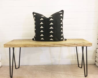 "20"" black vintage Mudcloth pillow cover"