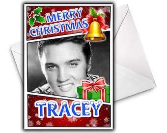 ELVIS PRESLEY Personalised Christmas Card - Celebrity Greetings Cards - Seasonal Cards - Elvis Presley Christmas Card