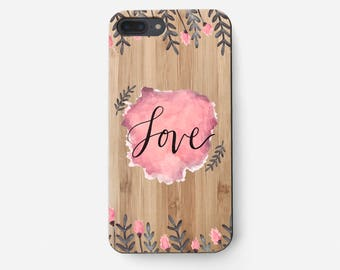 Love Phone Case, Leafs iPhone 5S Case, Pink iPhone 7 Cover, Gift for Girlfriend, Paints Case iPhone, Wooden iPhone 6 Plus Case, Wood Cover