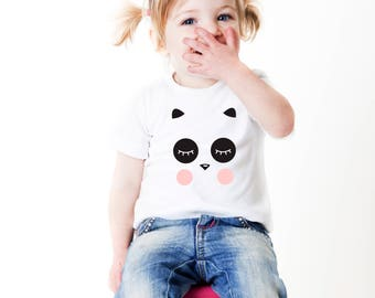 panda tshirt, gift for girl, panda lover, panda child, panda kids, two year old