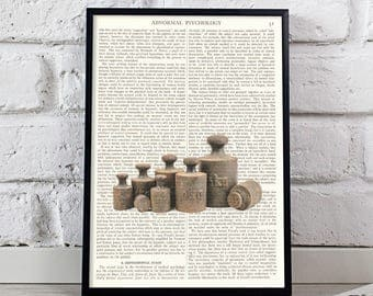 Vintage Weights quote On Vintage Dictionary Book Page Art Print Antique Large