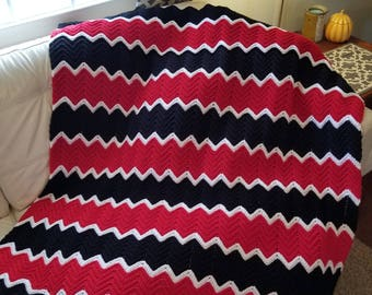 Chevron Ripple Afghan/Crochet Afghan/Blankets and Throws/Crochet Lap Robes/Housewarming Gift/READY TO SHIP