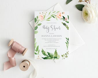Printable Baby Shower Invitation, Floral Baby Shower Invitation Greenery Baby Shower Invitation, Calligraphy Unisex Baby Shower Invitation