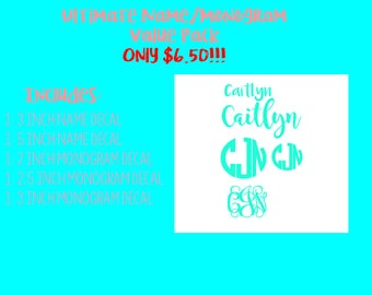 Monogram and Name Decal Value Pack