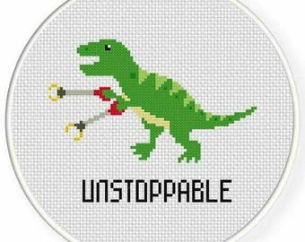 Unstoppable T-Rex Cross Stitch