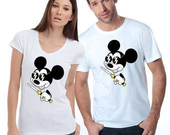 Disney T-Shirt Mickey Mouse Shirt Funny Mickey Mouse Bad MIckey Mouse Mickey With Knife Mickey Mouse Gangster Women's Men's Shirt