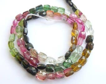 Multi Tourmaline Chewinggum Beads, Size- 4x5 MM, Natural Tourmaline  Beads, AAA Quality, Faceted,Bead, Natural Gemstone, 15 INCH