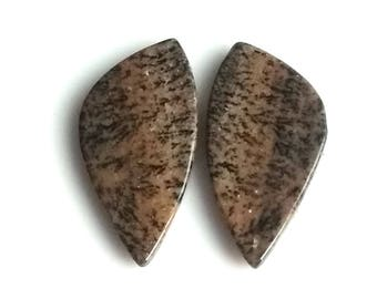 Honey Dendritic Fancy Pair Cabochon,Size- 28x14 MM, Natural Honey Dendritic, AAA,Quality  Loose Gemstone, Smooth Cabochons.