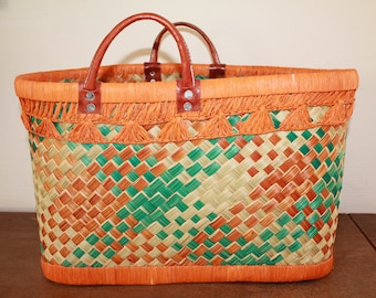 Basket handmade raffia and leather