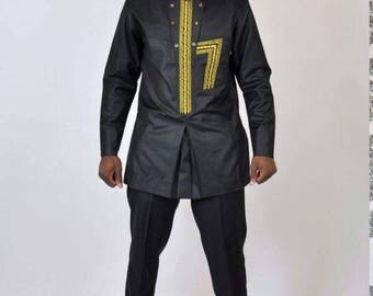 Black Dashiki Design, long sleeve and Trousers
