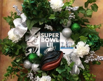Philadelphia Eagles Wreath with SuperBowl License Plate - Fly Eagles Fly - Ready to Ship