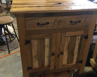 Reclaimed Barn Wood Table With Cabinets And Drawer.