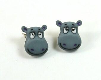Hippo earrings, Hippo studs, Animal earrings, Animal studs