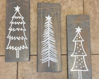 Rustic Christmas tree signs set, Pallet wood Christmas tree signs