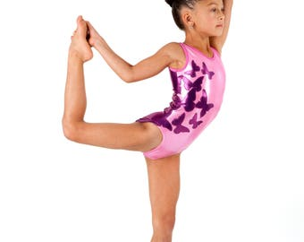 Girl's Dance, Rhythmic Gymnastics Tank Leotard Outfit. Solid Colors w/Butterfly Applique