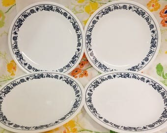 Corelle old town blue 8.5 in salad plates set of 4 corning livingware vintage 1970s