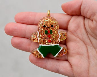 Resin Gingerbread Man Keychain || Ornament || Cute || Perfect Gift ||