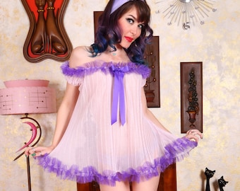 Retro Repro Sheer Pink Baby Doll with Purple Trim