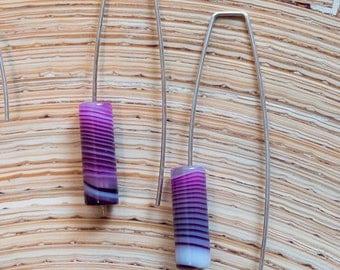 Purple Striped Agate Sterling Silver Earrings